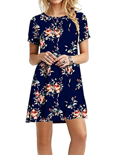 MOLERANI Women's Short Sleeve Shirt Casual Loose Swing Floral Dress Rose Navy Blue - Blue Dress Floral Casual
