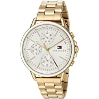 Tommy Hilfiger Women's Sport' Quartz Gold-Tone-Stainless-Steel Casual Watch, Color:Gold (Model: 1781786)