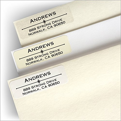 Diamond Bar Return Address Labels w/Personalized Storage Tin - (Ivory Address Labels)