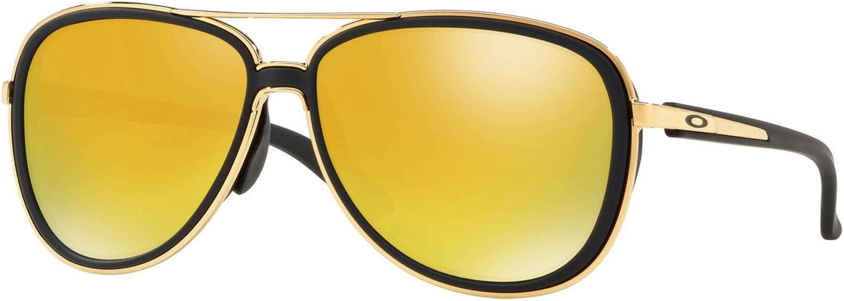 04091feda Oakley Women's Split Time Non-Polarized Iridium Aviator Sunglasses,Black,  ...