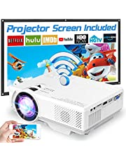 """Projector with WiFi, 2021 Upgrade 7500L [100"""" Projector Screen Included] Portable Mini Projector, Supports 1080P Synchronize Smartphone Screen by WiFi/USB Cable for Home Entertainment"""