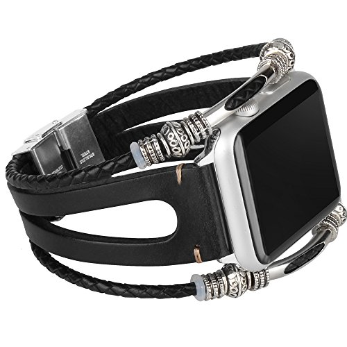 somoder Leather Bands Replacement for Apple Watch Band Series 4 40mm, Series 3/2/1 38mm, Handmade Vintage Fashion Alloy Leather Bracelet for Iwatch, Adjustable Size 5.5 - 8.5