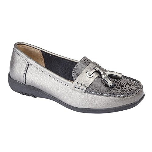 Boulevard Womens/Ladies Wide Fitting Reptile Print Tassel Shoes Pewter OW46yCL