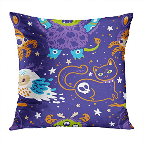 Janyho Throw Pillow Cover Happy Halloween Monster Spider Comfortable Print Living Room Sofa Bedroom Polyester Hidden Zipper Pillowcase Cushion Cover 16x16 Inch