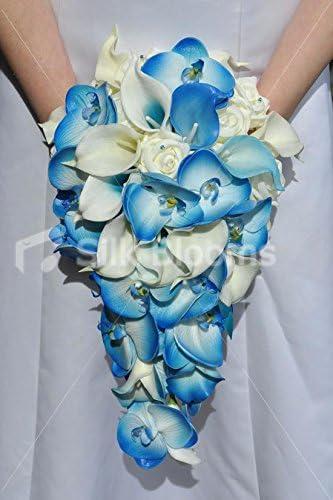 Bouquet Sposa Orchidee Blu.Bouquet Da Sposa Con Orchidea E Giglio Color Avorio E Blu Amazon
