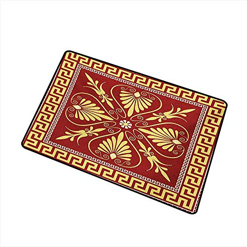 Thin Door mat Greek Key Old Fashioned Frame Design with The Greek Labyrinth and Curly Leaves Flowers W31 xL47 with Anti-Slip Support -
