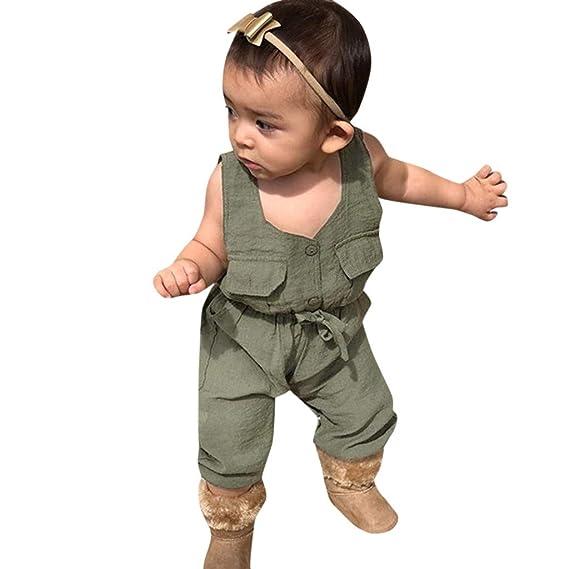 bebé niño Mono de Botones, Mono de una Pieza sin Mangas Body ...