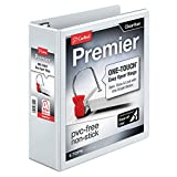 Cardinal Premier Easy Open 3-Ring Binder, 3'', ONE-TOUCH Easy Open Locking Slant-D Rings, 650-Sheet Capacity, ClearVue Cover, PVC-Free, White (10330)