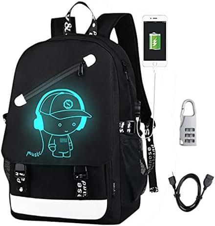 DOLIROX Anime Luminous Backpack Cool Fashion Boys Girls Outdoor Backpack Daypack Unisex Shoulder School Bag Laptop Bag (Black A)