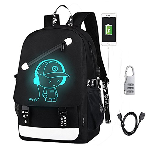 DOLIROX Anime Luminous Backpack Cool Fashion Boys Girls Outdoor Backpack Daypack Unisex Shoulder School Bag Laptop Bag (Black A)