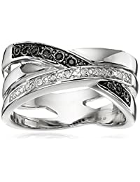 Sterling Silver Intertwining Bands of Black and White Diamonds Ring (1/10cttw, I-J Color, I2-I3 Clarity), Size 7