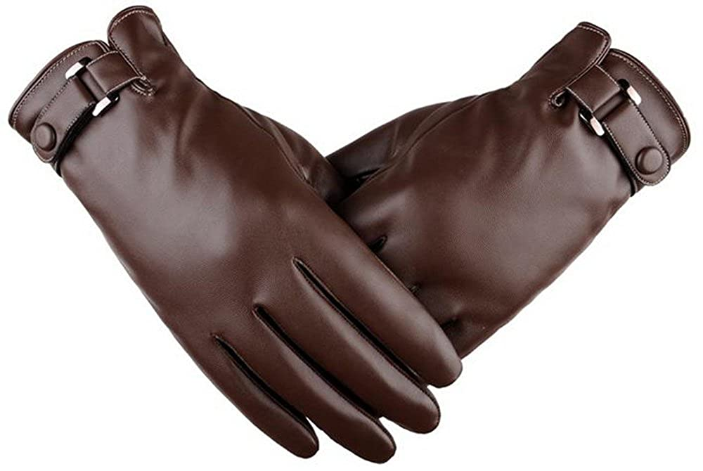 Men's Autumn And Winter PU Washed Leather Simulation Plus Thick Velvet Touch Gloves