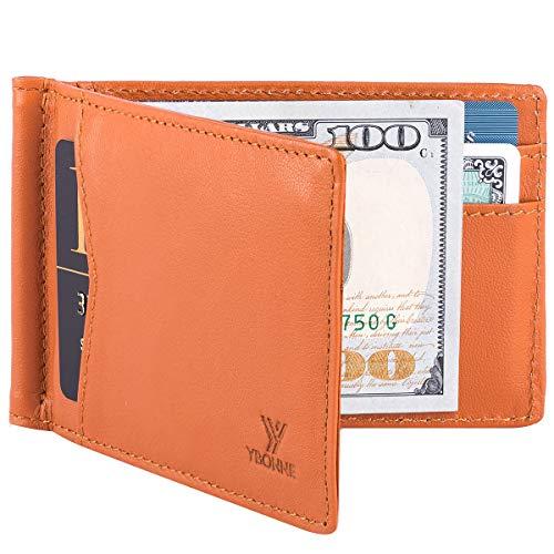 YBONNE Men's Slim Bifold Wallet with Money Clip Finest Genuine Leather Minimalist RFID Blocking ()