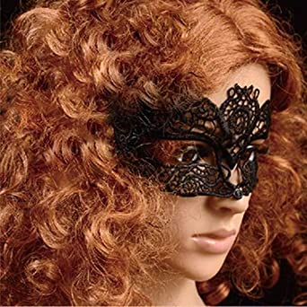 Halloween Woman Black Lace Mask Fancy Catwoman Costume For Masquerade Party