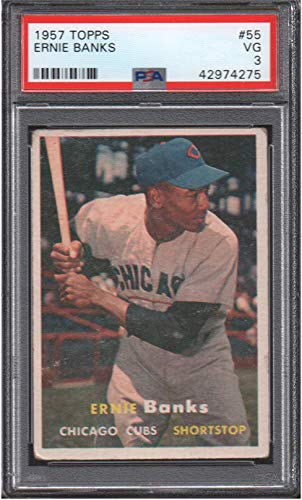 1957 Topps Regular (Baseball) card#55-psa Ernie Banks (psa) of the Chicago Cubs Grade Very Good