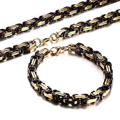 (Men's Stainless Steel Mechanic Gold Plated Black Chunky Byzantine Chain Bracelet and Necklace Set, 9
