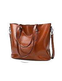 Ladies Leather Handbags,ZZSY Women Fashion Top Handle Tote Big Large Capacity Shoulder Bag