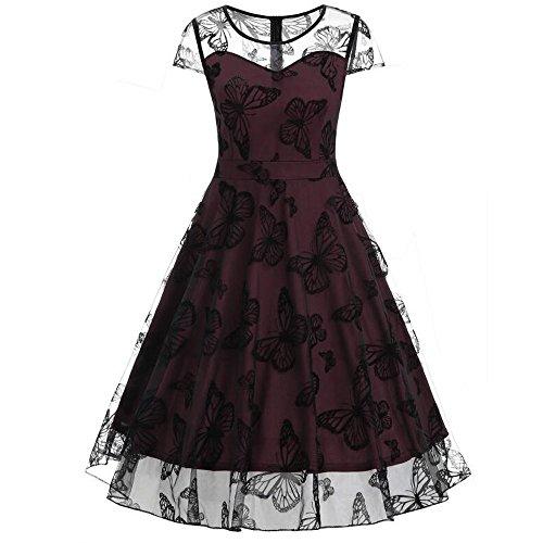 (Women Dresses Godathe Women Butterfly Retro Dress Summer Sleeveless Mesh Female Robe Party Dress)