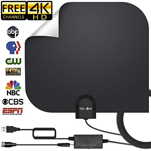 [2019 Upgraded] HD Antenna,HD Digital Indoor TV Antenna Version, 140+ Mile Range HDTV Antenna with Amplifier Signal Booster, Amplified 17ft Coax Cable … (Black)]()