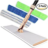 "Commercial Microfiber Floor Mop 18"" - Professional Hardwood Floor Cleaner with Aluminum Plate & 3 Durable Cloths for Dust Dirt & Animal Hair - Adjustable 360 Swivel Head & Extendable Foam Handle"