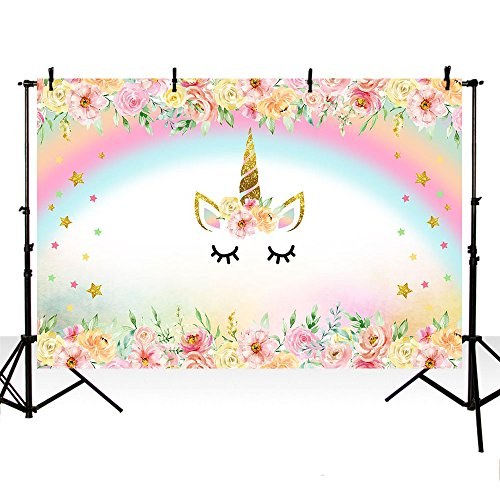 MEHOFOTO Unicorn Themed Rainbow Photo Studio Booth Background Flowers Baby Shower Backdrops for Photography 7x5ft