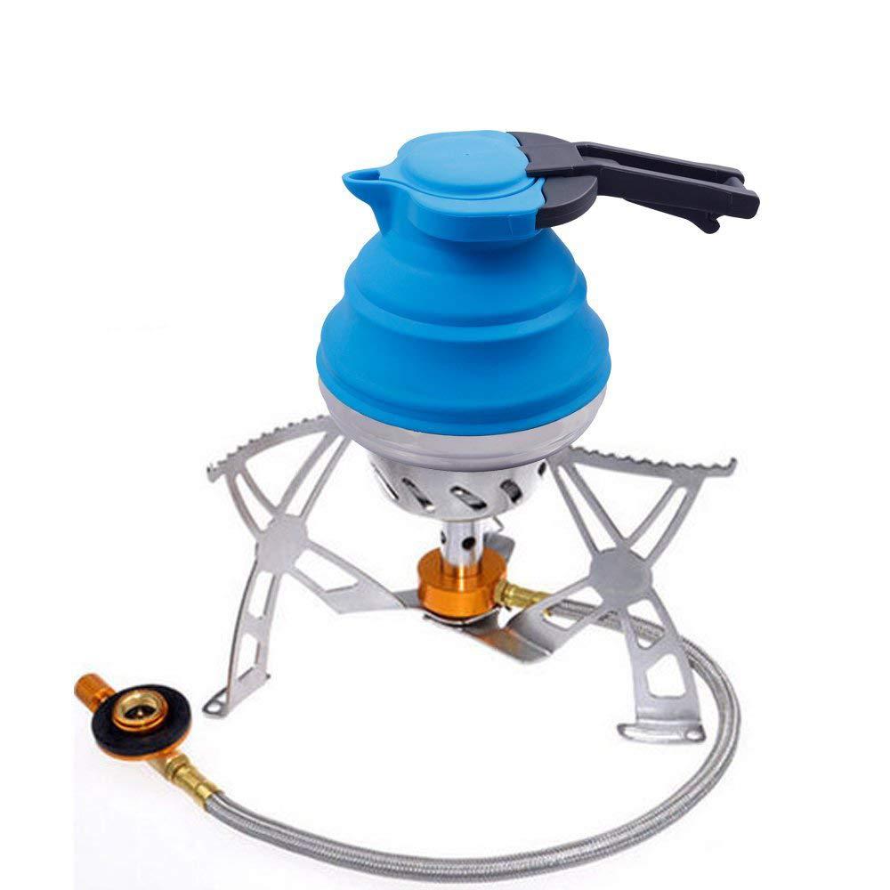 LOUTY azul 1.2L de silicona port/átil hervidor plegable para el t/é de caf/é al aire libre que acampa mochilero plegable de viaje de la caldera