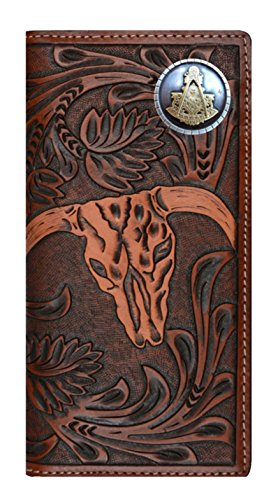 Wallet Masonic Cow and Past Belt Skull Long Long Custom Brown New Tan Master 3D Company xqIgzPO