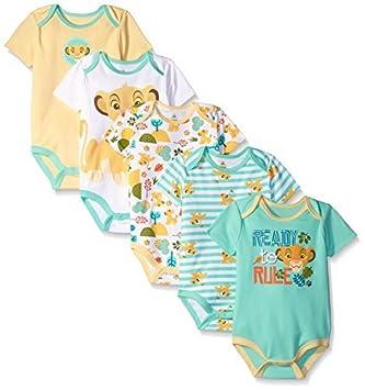 Disney Baby Boys Simba 5 Pack Bodysuits Multi Yellow 9 12 Months