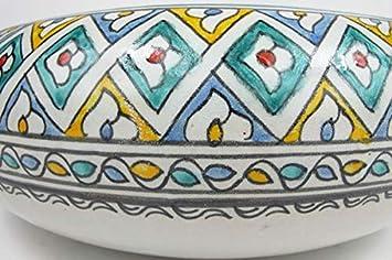 Vintage Waschbecken f/ür K/üche Badezimmer G/äste-Bad handbemalt Handwaschbecken Keramik Waschbecken /Ø 40 cm Saharashop Orientalisches Keramik Waschbecken T/ürkis-Bunt 2