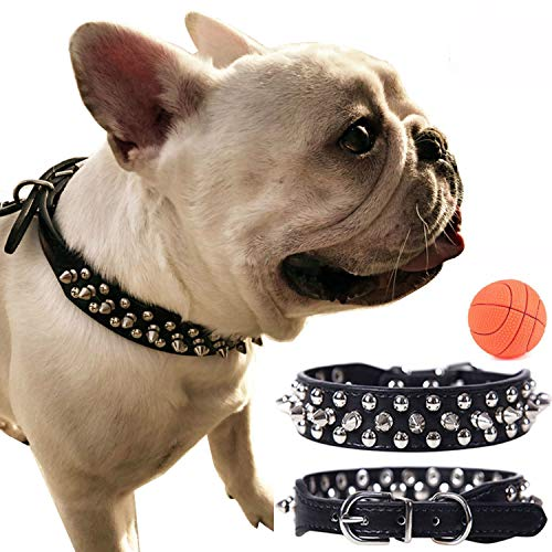 teemerryca Leather Spiked Black Dog Collars for Medium Dogs Comfortable Durable Studded Dog Collars Boys for Bulldogs Jack Russell Terrier Cocker Spaniel Adjustable Dog Collars 12.6