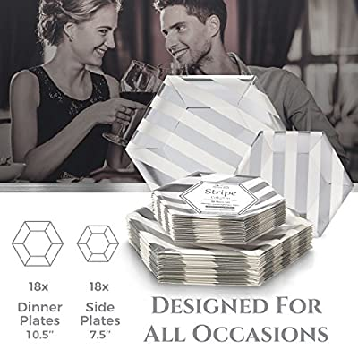 Stripe Collection Heavyweight Paper Plates White Stripe - Disposable Hexagon Design Plate Dinnerware Set - Perfect for Formal Dinners, Parties, and Events (Set of 36)