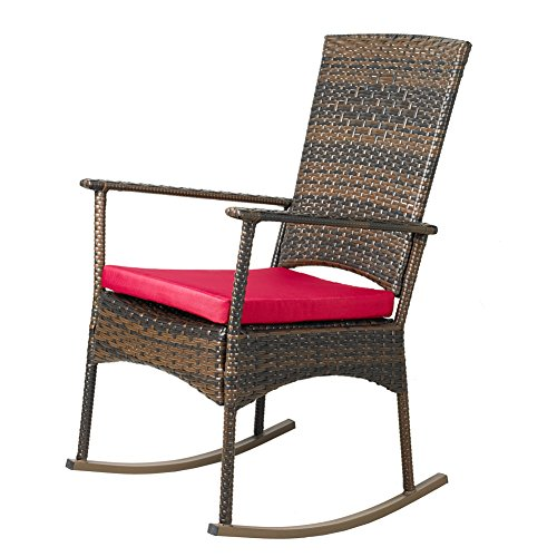 APEX LIVING KD Wicker Rocking Chair Patio Leisure Chair with Red Cushion by APEX LIVING
