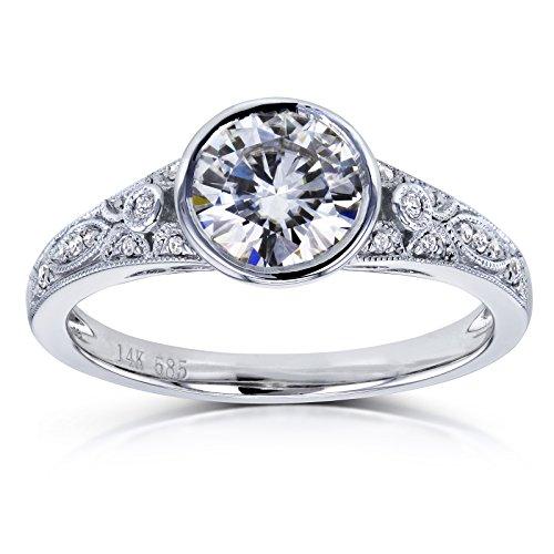 Round F-G Moissanite and Diamond Bezel Vintage Engagement Ring 1 CTW 14k White Gold, 7