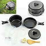 8Pcs / Set Portable Outdoor Cooking Camping Hiking Cookware Picnic Bowl Pot Pan