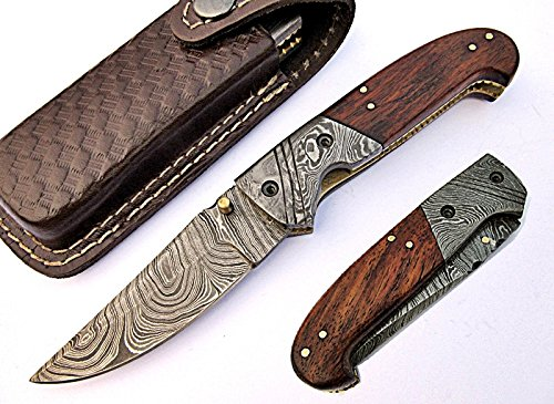Deluxe Damascus Steel Blade Pocket Knife Wood Handle