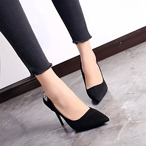 Rhinestones Elegant 34 MDRW A Shoes High Match Mouth Black Heels Spring Fine Lady Work Shallow Shoes All Leisure Tip 10Cm With 5CqRZw