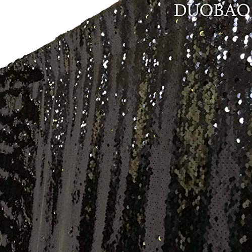 DUOBAO Sequin Backdrop Curtains 2 Panels 4FTx8FT Reversible Sequin Curtains Black to Gold Mermaid Sequin Curtain for Wedding Backdrop Party Photography Background by DUOBAO (Image #3)