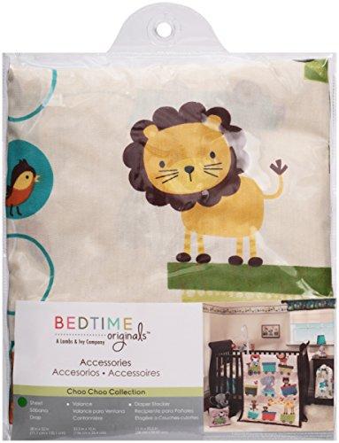 N2 Beautiful White Blue Brown Safari Fitted Crib Sheet, Animal Themed Nursery Bedding, Infant Child Birds Wings Lion Jungle Roar Nature Elephant Choo Choo Train Cute Adorable, Cotton