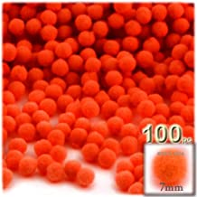 The Crafts Outlet 100-Piece Multi purpose Pom Poms, Acrylic, 7mm/0.28-inch, round, Neon Orange