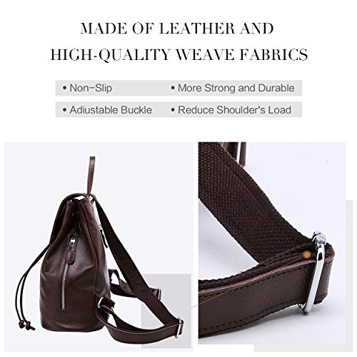 Shoulder Ladies for School Brown Backpack Coffee Travel Bag Elegant Genuine Women Leather CwaX18q
