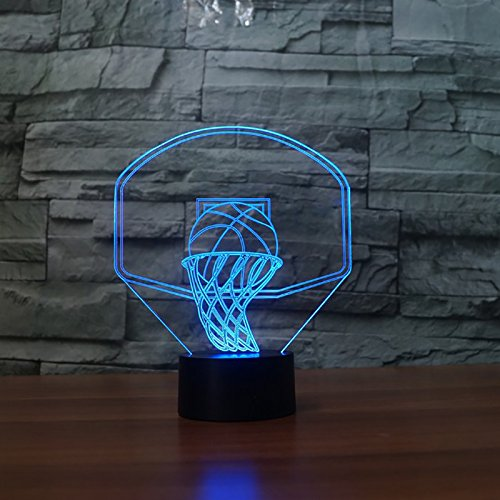 zhangdiandian 7 Color Changing Led Nightlight Kids USB 3D Basketball Backboard Shape Table Lamp Baby Sleep Lighting Bedside Decor Gift