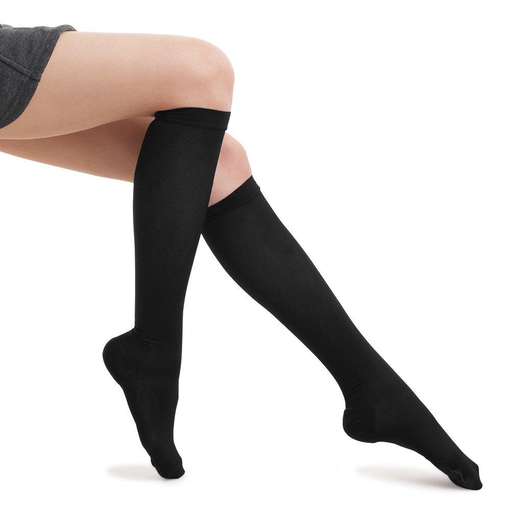 Fytto 1007 Women's Compression Socks, 15-20mmHg Sheer Knee High Hosiery - Professional Support for Travel, Varicose Veins & Pregnancy, Black, Classic, Medium
