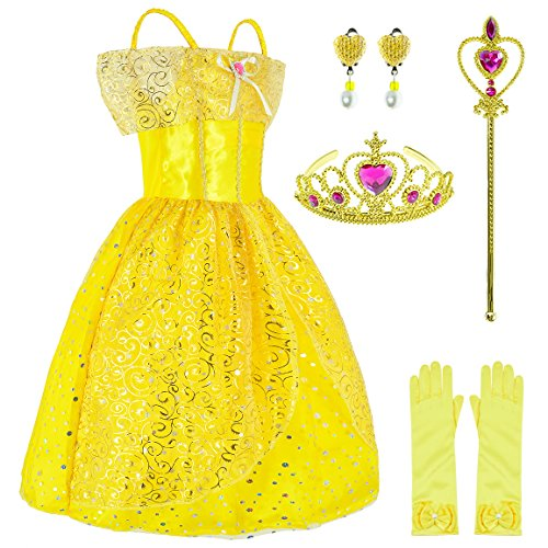 Yellow Dress Princess Belle Costume Girls Birthday Party Dress Up With Accessories 4-5 Years (Style1 110CM) for $<!--$23.80-->