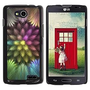 Colorful Feathers - Metal de aluminio y de plástico duro Caja del teléfono - Negro - LG OPTIMUS L90 / D415