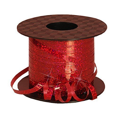 """Red Metallic Curling Ribbon With Holographic Sparkles, 3/16"""""""