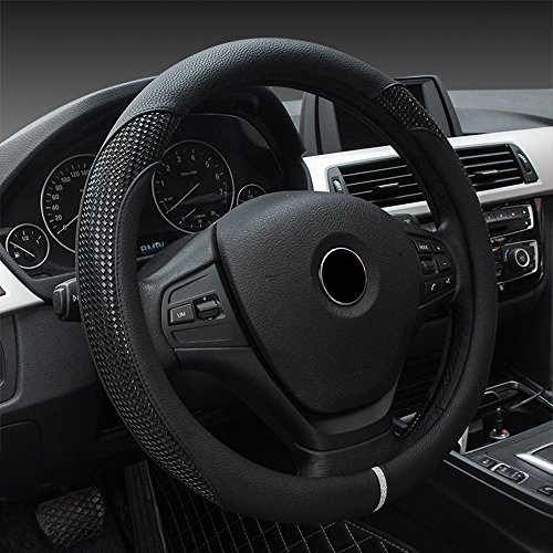 MKLOT Universal Fit Car Steering Wheel Cover - Microfiber Leather Heavy Duty Thick Elegant Anti-Slip 37-39CM/15''Steering Wheel Cover - - Polo Park Friday Black
