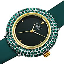 Burgi Women's BUR227 Swarovski Colored Crystal & Diamond Accented Leather Strap Watch Packed in a Beautiful Gift Box (Emerald Green)