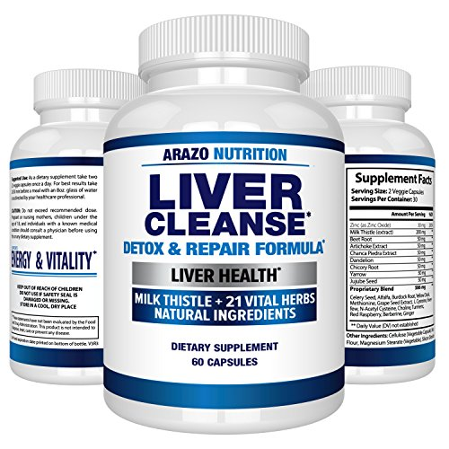 Liver Cleanse Detox & Repair Formula - 22 Herbs Support Supplement: Milk Thistle Extracts Silymarin, Beet, Artichoke, Dandelion, Chicory Root - Arazo Nutrition USA