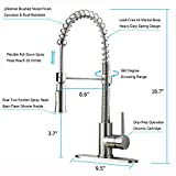 KINGO HOME Lead Free Modern Stainless Steel Single Handle Pull Down Sprayer Spring Brushed Nickel Kitchen Faucet, Kitchen Sink Faucet with Deck Plate