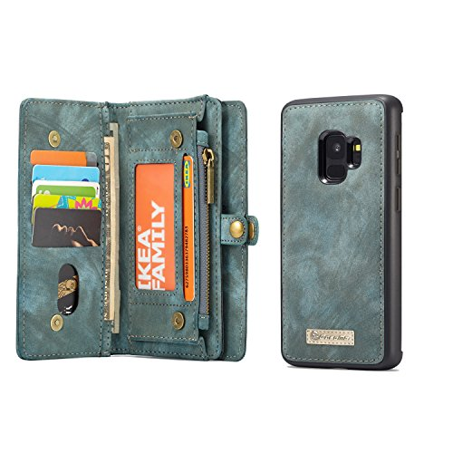 Samsung Galaxy S9 Plus Wallet Case - MOONORN Premium Leather Zipper Purse Detachable Magnetic Flip Case S9 Plus Shockproof Cell Phone Case with Credit Card Slots - Shockproof Phones Mobile